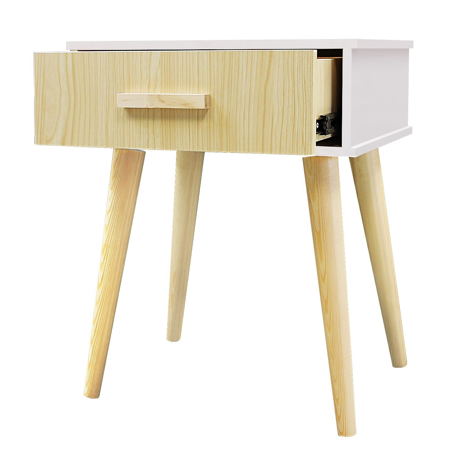 Jerry & Maggie Nightstand Modern Fashion 4 Thin Long Legs Space Station - 1 Tier Cubic Night Stand Storage Bedside Table with 2 Drawer Real Natural Paulownia Wood   White & Wood Drawer