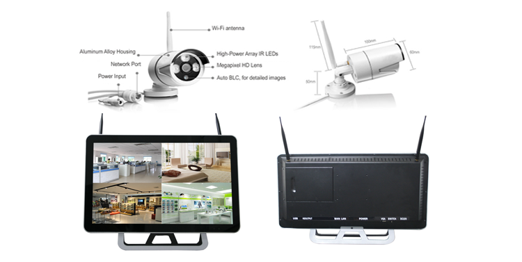 "15"""" LCD 8CH NVR Outdoor Home Security Surveillance Surround View Wifi Wireless Camera System"