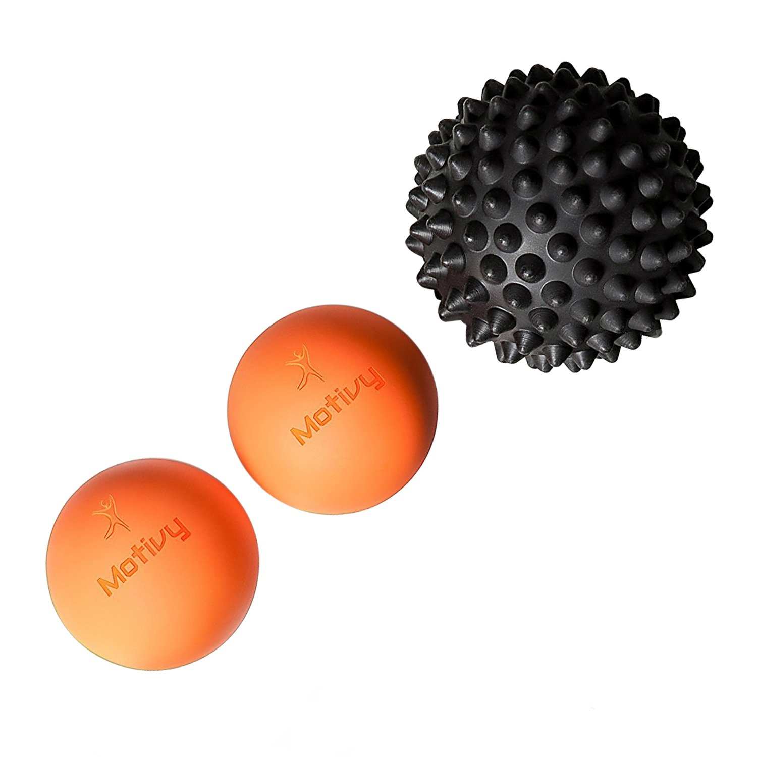 Foot Massage Ball (3) – 2 Lacrosse Deep Tissue Massage Balls & Spike Ball (1) – Ideal Myofascial Release & Trigger Point Activation Tool – Ideal for foot, Shoulder, Back, etc – Bonus Bag