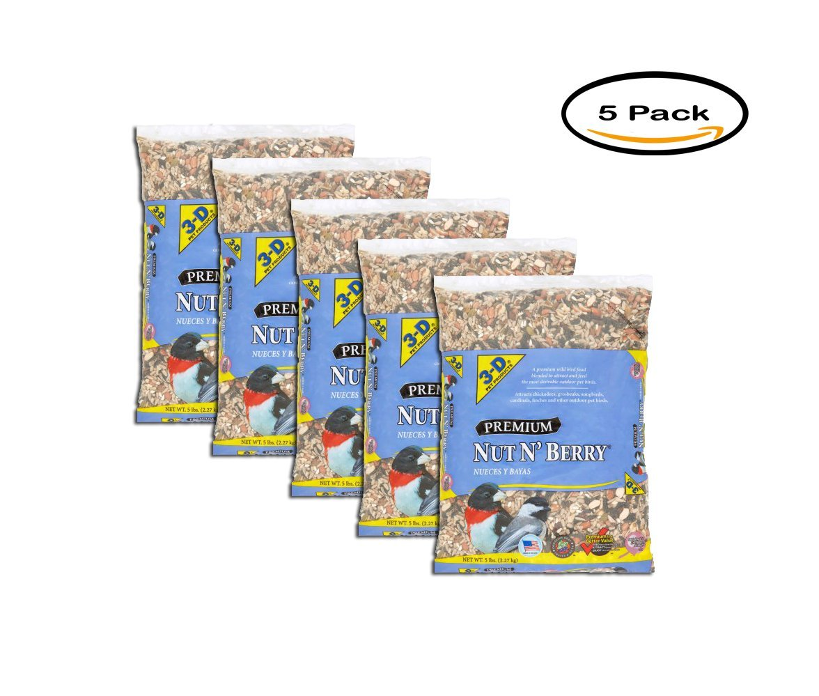 PACK OF 5 - 3-D Pet Products Premium Nut N' Berry Parrot Food, 5 lbs