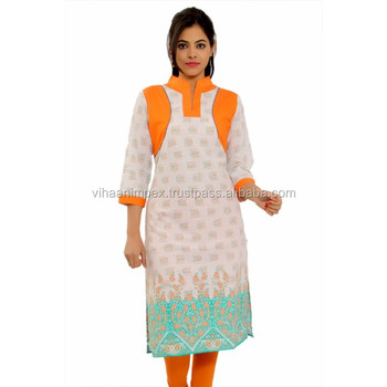 4132d90963a Designer Ethnic Printed Cotton Ladies Kurti - Buy New Style Design ...