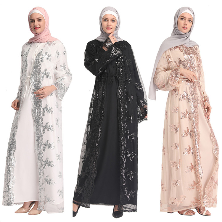 Lace 2019 Latest Designs Fashionable Islamic Clothing White Sleeveless Sweater Vest Cardigan With Pearl Button Muslim Sarong