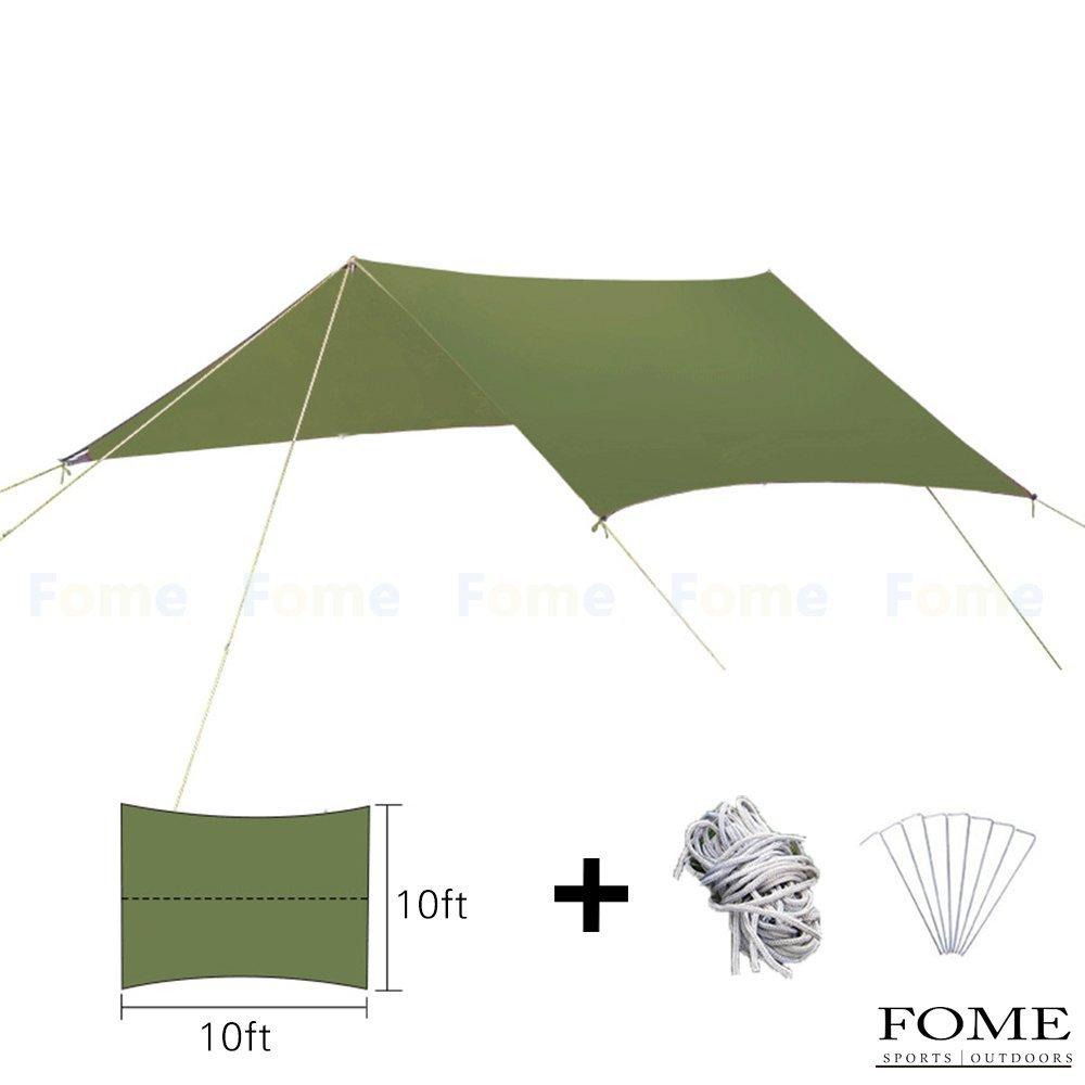 Rain Tarp Camping, FOME SPORTS|OUTDOORS 10ft x 10ft Multipurpose Portable Outdoor Awning Sunshade Sun Shelter Rain Survival Tarp Ultralight Waterproof Sunproof for Camping Hiking Fishing Beach