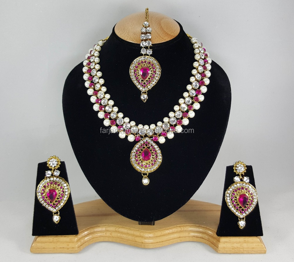 Western Designer Beautiful Pearl Crystal Pink Stone Gold Plated Wedding Collection Kundan Zerconic Necklace set