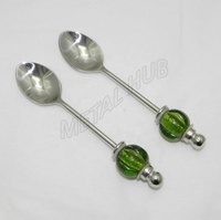 Stainless Steel Glass Beaded Spoons