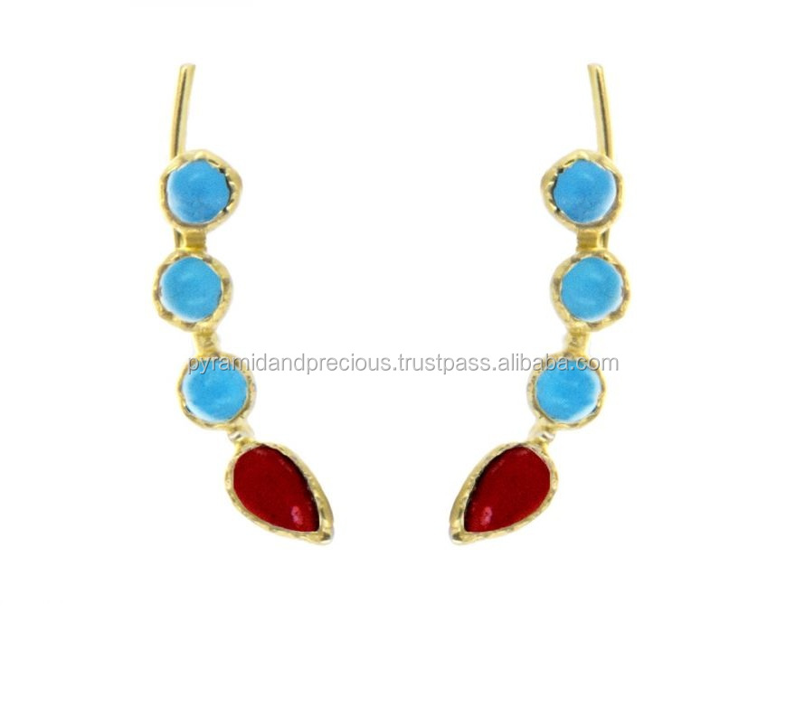 Red Dyed Ruby Handmade Jewelry Dyed Emerald Brass Metal Earring 1.5 Turkish Style