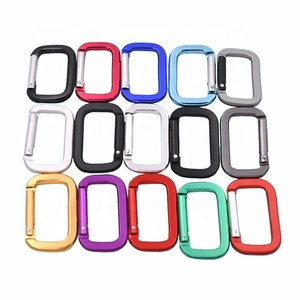 Factory directly selling aluminum flat square carabiner hook as keychain or bag parts and accessories