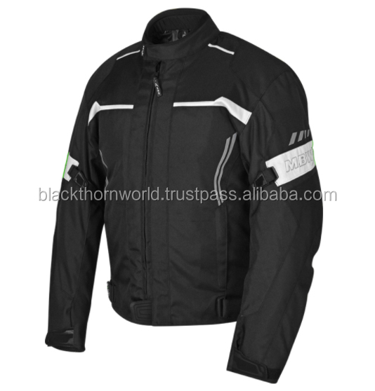 Polyester constructed textile motorcycle jacket with internal and external pockets