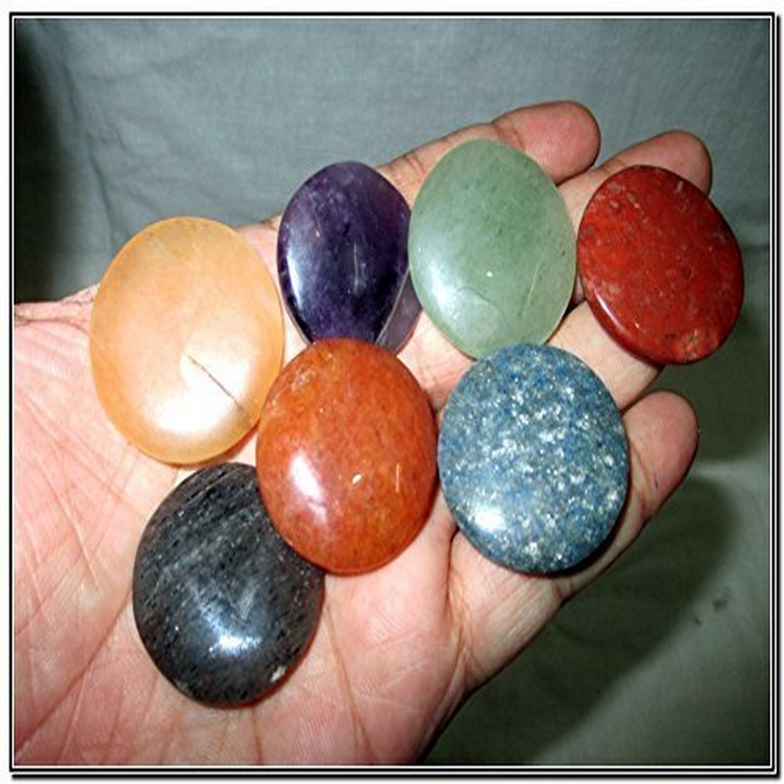 Fantastic Chakra Gemstone Disc Round Stone Set Palm Worry Stone Thumb Stone Crystal Therapy Geometry Platonic Solid Sacred Air