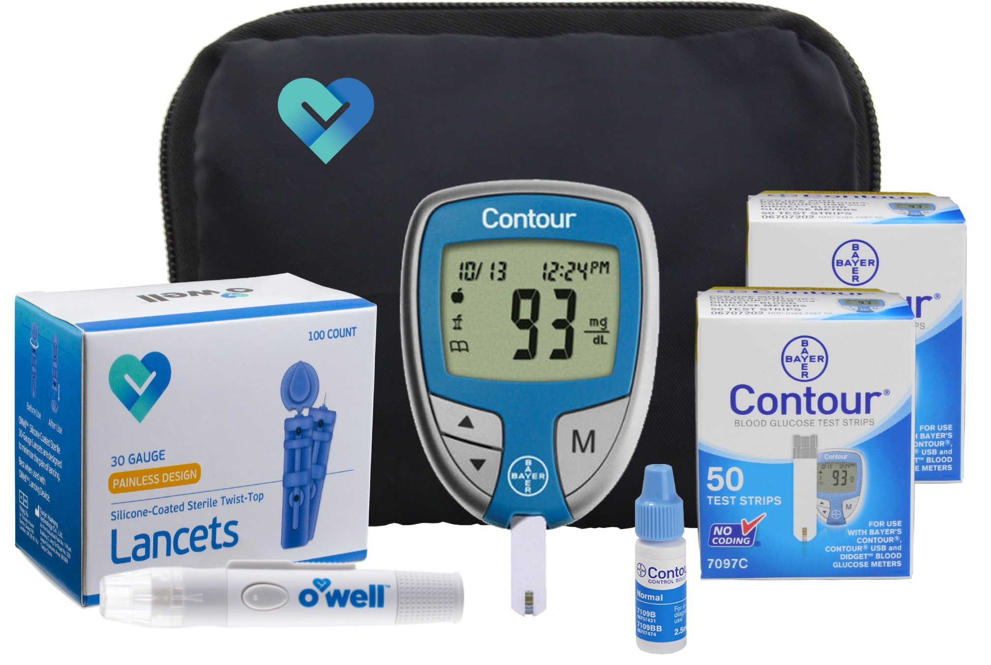 Contour Diabetes Blood Glucose Testing Kit - Contour Meter, 100 Contour Test Strips, 100 OWell Lancets, OWell Lancing Device, Control Solution, Manual, Log Book & Carry Case