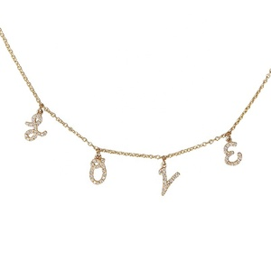 Fashion diamond custom name plate jewelry love necklace for women