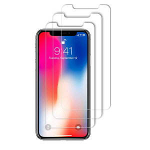 Image of 0.3 MM 2.5D clear transparent mobile phone tempered glass screen protector 3 pack retail box package for iPhone xs,xr,xs max