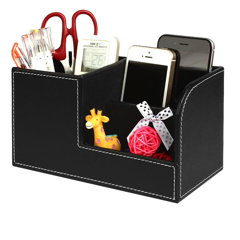 Leather Desk Organizer with Drawer, Juliell Multi-function Desk Storage Box Stationery Organizer Pen, Pencil, Name Cards, Cell Phone, Key, Remote Control Holder for Home, Office, School (Small, Black)