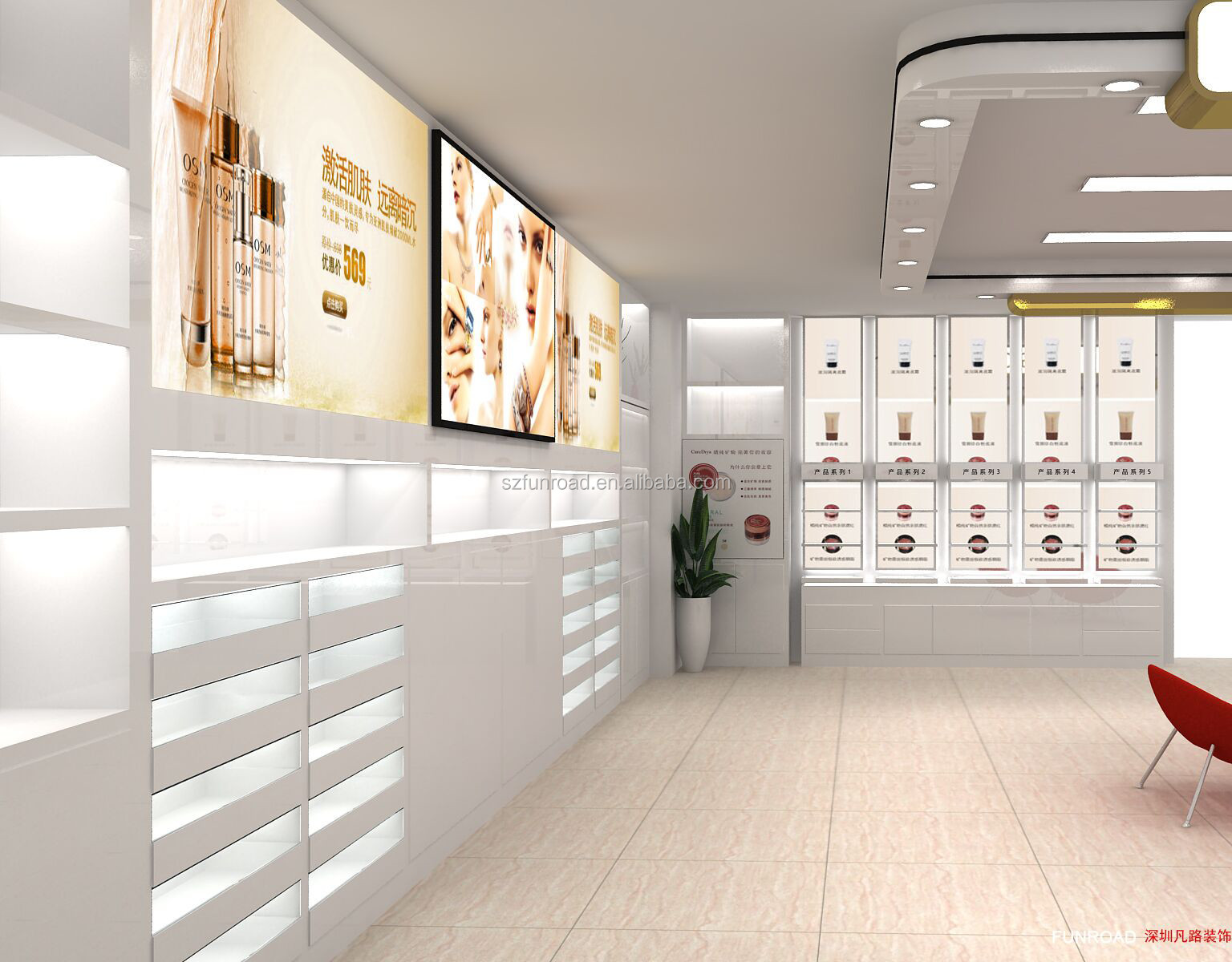 Professional design cosmetic display showcase cabinet luxury furniture manufacture