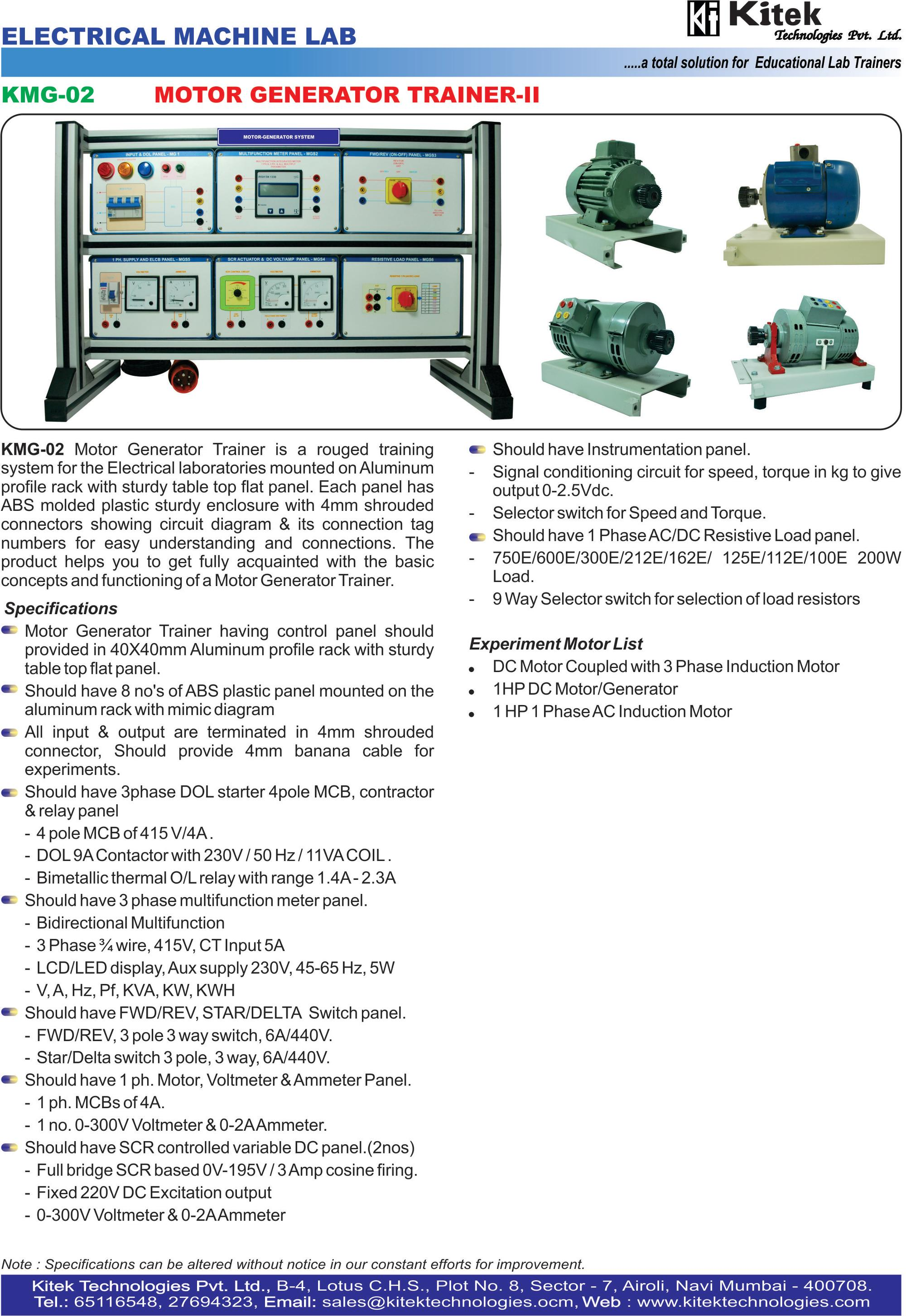 Motor Generator Trainer -V Electrical Machine Trainer