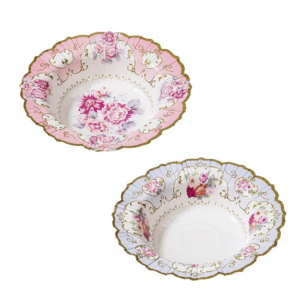 Talking Tables Truly Scrumptious Vintage Floral Paper Bowls in 2 Designs for a Tea Party or Birthday, Blue/Pink (24 Pack)