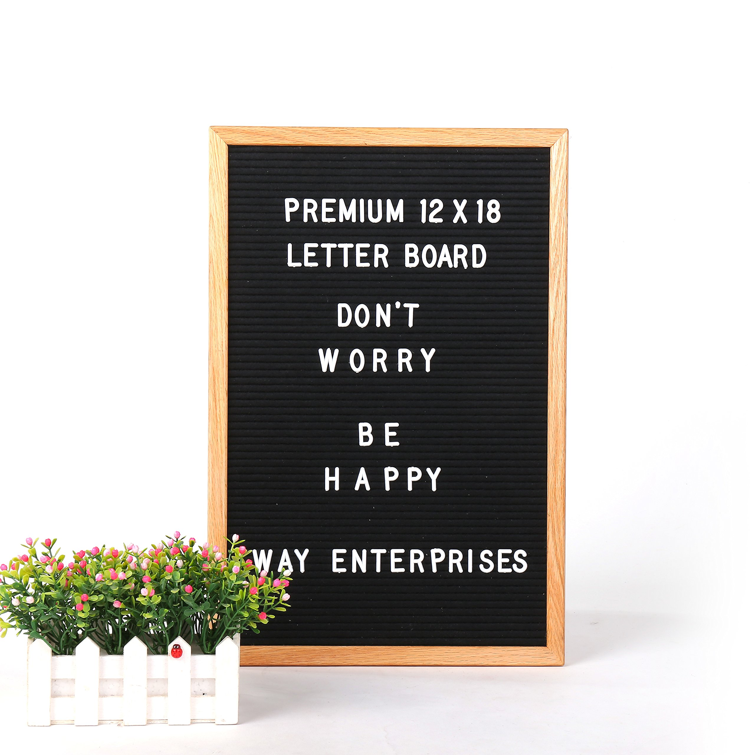 Felt Letter Board with Changeable Letter Set And Cotton Bag, 12x18'' Oak Menu Board With 346-3/4 Inch Letter Tiles, Including Numbers & Special Characters For Home Decoration by WAY Enterprises, LLC