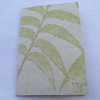 Handmade wood free natural leaves impression birthday greeting card