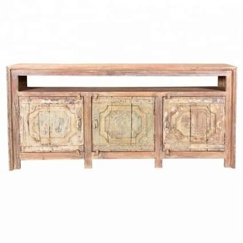 Industrial U0026 Vintage Old Mango Wood Indian Furniture Carved 3 Door  Distressed Painted Entertainment TV Cabinet