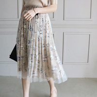 Flower mesh skirt (banding)_korean women clothes