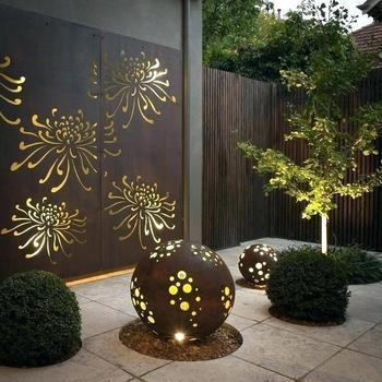 Outdoor Privacy Screens Decorative Corten Steel Metal Screen Laser Cut