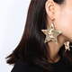 Punk Style Exaggerated Personality Large Earring Metal Texture Star Pendant Ear Stud