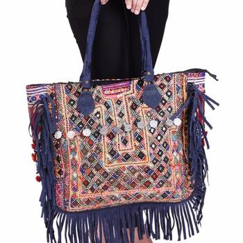 3b3cde6926db Индийский Этническая Banjara стиль монета Tote сумки дизайнер кожа бахрома  сумки вечерние