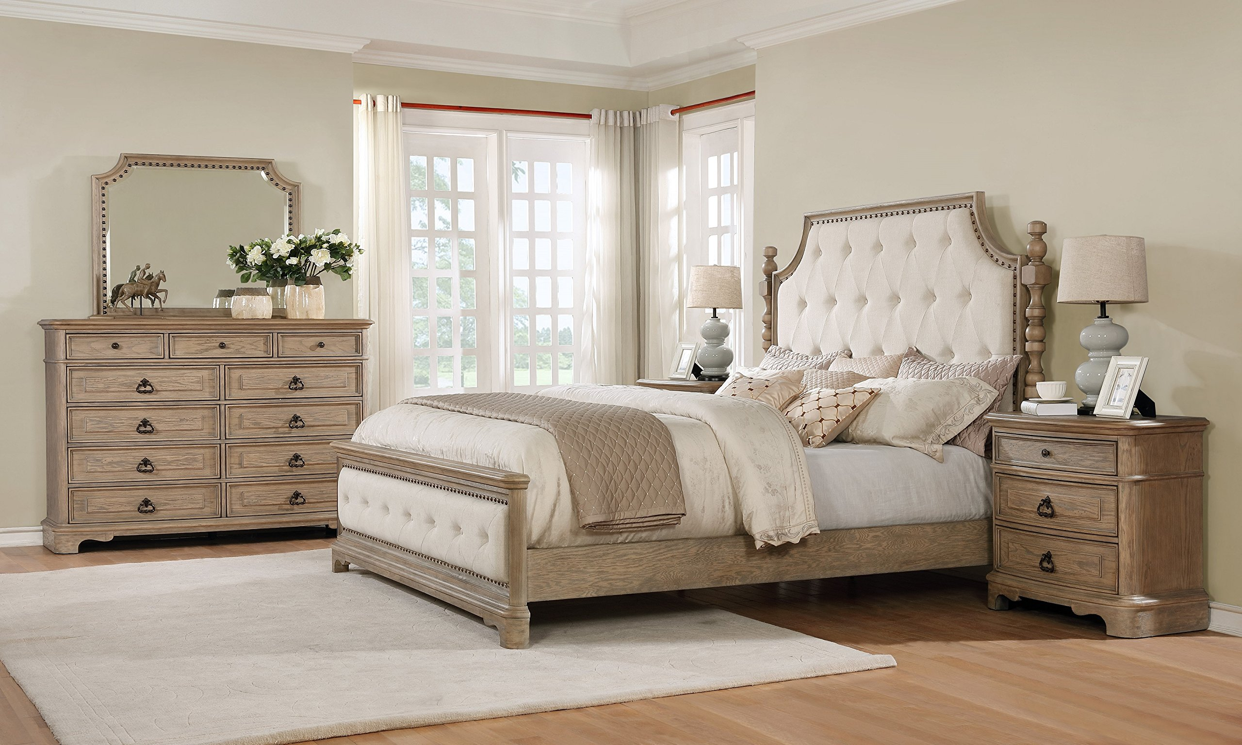 Roundhill Furniture B296KDMN2 Piraeus 296 Solid Wood Construction Bedroom Set with King Size Bed, Dresser 2, Mirror And 2 Night Stand