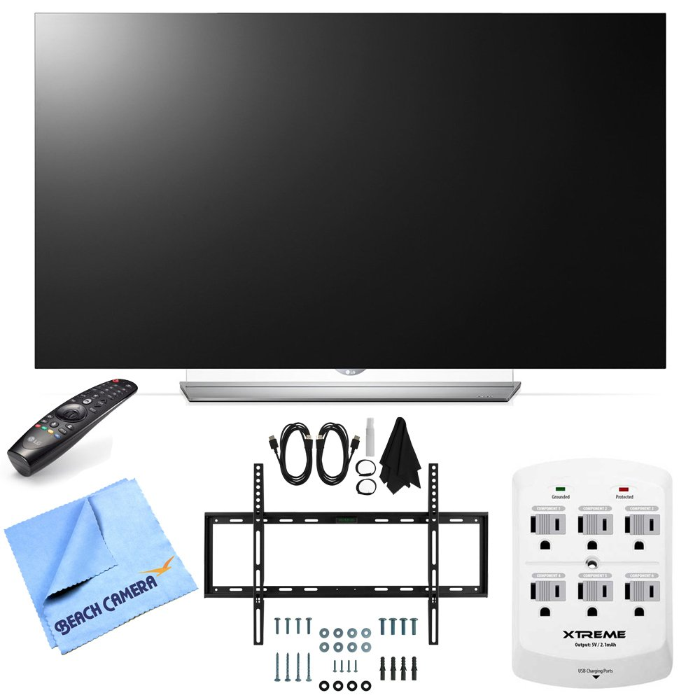 LG 55EF9500 - 55-Inch 2160p Smart 3D Flat OLED TV Hook-Up Bundle includes 55EF9500 OLED TV, Slim Flat Wall Mount Ultimate Bundle Kit, 6 Outlet Wall Tap w/ 2 USB Ports and Beach Camera Cloth