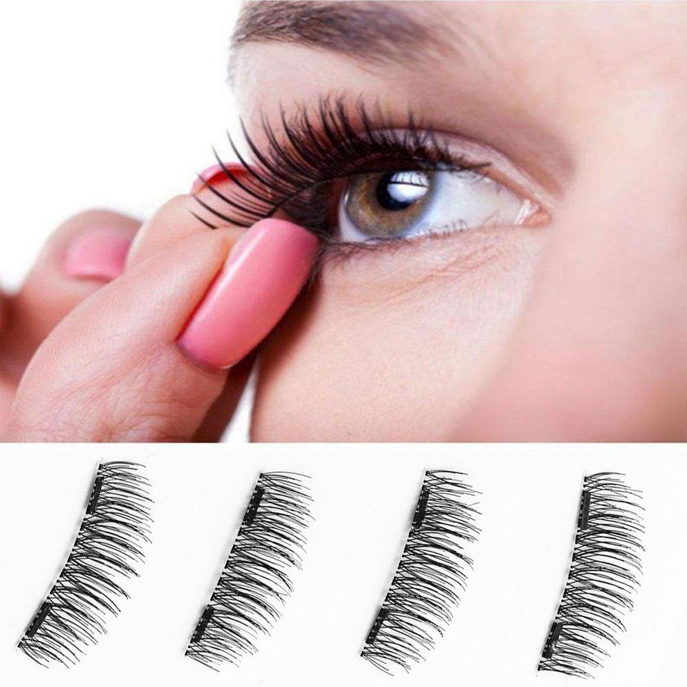 41f7853cbb5 Get Quotations · Newest Dual Magnetic False Eyelashes(4 Pieces)3D Reusable Fake  Eyelashes Fake eye Lashes