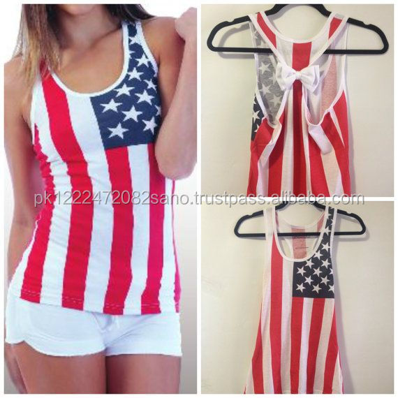 Sexy Ladies American Flag Bow Tank Top