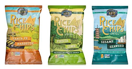 Lundberg Rice Chips Made with Organic Grains Variety Pack of 3 Flavors- Fiesta Lime, Santa Fe BBQ, and Sesame Seaweed (Pack of 3)