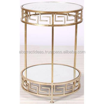 Two Tier Gold Leaf Side Coffee Table Round - Metal Frame, Glass Top Decorative Accent Living Room Furniture End Table