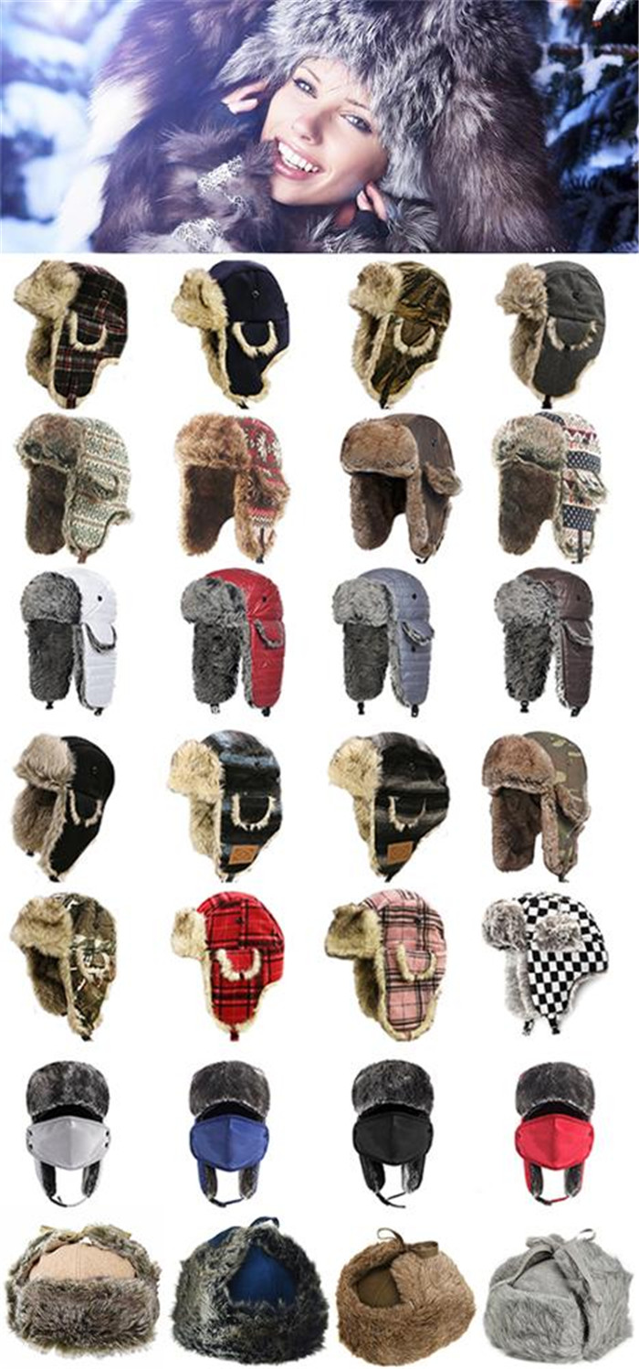 d263ffb6ded Custom Russian style fur nylon fake fur windproof winter hat with earmuff  hat with mouth cover