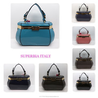 UK Wholesale Ready Stock High Quality Luxury Patent Pu Leather Women Beauty Box Clasp Handbag