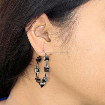 Gold Silver Diamond Gemstone Black Spinel Hoop Earrings Buy