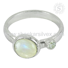 Winsome !! filigree rainbow moonstone, cz ring silver jewelry handmade 925 sterling silver rings jewellery exporter
