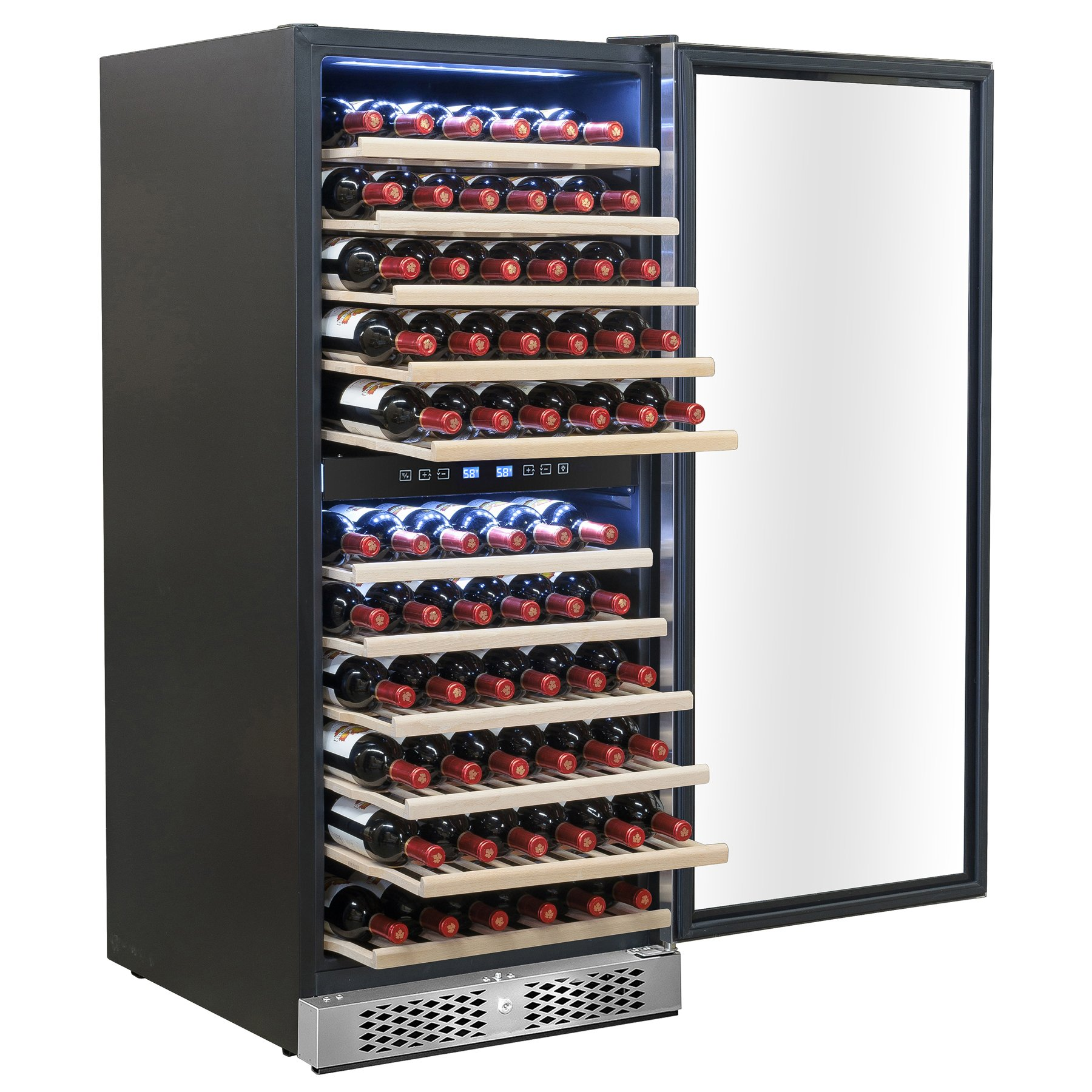 AKDY 116 Bottles Dual Zone Built-in Compressor Freestanding Wine Cooler w/ Touch Control Panel