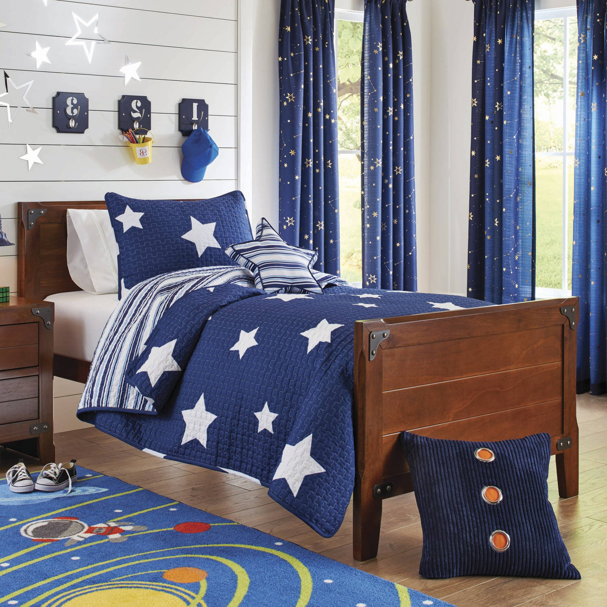 4 Piece Boys Navy Blue Planets Stars Quilt Full Queen Set, White Color Space Pattern Planets Design, Kids Bedding For Bedroom, Modern Contemporary Universe Themed Teen Striped, Polyester Microfiber