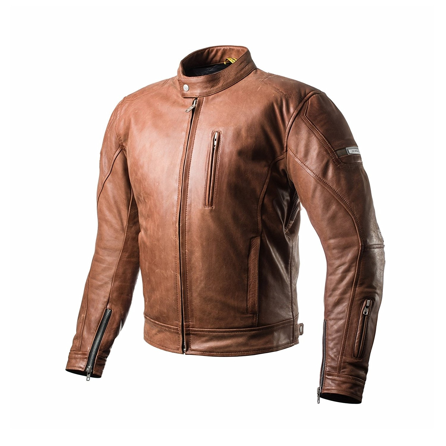 SHIMA HUNTER, Back Protector Summer Vintage Retro Mens Leather Motorcycle Jacket, Brown (S-XXL) (M, BROWN)