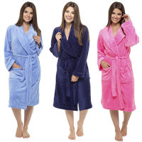 Custom super soft coral fleece fluffy robe salon kimono house robe microfibre robe with hood