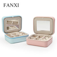 FANXI Custom Jewellery Organizer Box with zipper and Mirror For Ring Earrings Necklace Pink Pink PU leather jewelry Storage Case