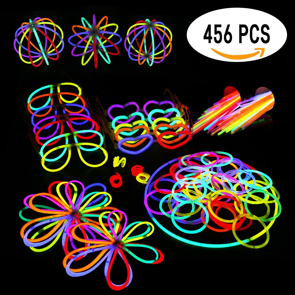 """Glowsticks Glow Sticks Party Favors Pack. 200 8"""" Glow Sticks Bracelet Mixed Colors + Connectors for Glow Necklace, Flowers, Balls, Eye Glasses and Glow Rings, 456 PCS of Glow in The Dark"""