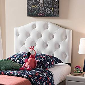 Baxton Studio Myra Faux Leather Upholstered Twin Headboard in White