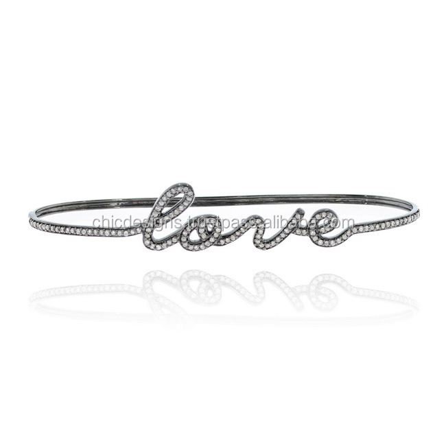 Pave Diamond Love Letter Palm Bracelet, Silver Diamond Pave Bracelet, Diamond Silver Jewelry Supplier From Chic Designs India