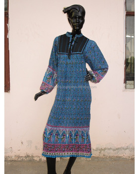 2018 Jaipur karni cotton blue black color elephant printed maxi dress  collar neck fancy women long d034f4ae5