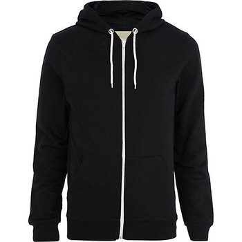 56b98cc25d5 Contrast Black Body And Red Zip Up Hoodie