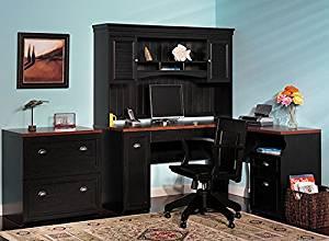 "Bush L Shaped Desk W/Drawers Desk: 30 3/4""H X 59 5/8""W X 59 5/8""D Desk Depth: 23.19"" Return Depth:19.13"" Hutch: 38 1/4""H X 60 3/8""W X 12 3/8""D - Antique Black/Natural Cherry"