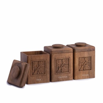 Teacoffeesugar Brown Wood Carved Canister Set Of 3 Buy Wooden Canister Settea Coffee Cookie Sugar Ceramic Setunique Canister Sets Product On