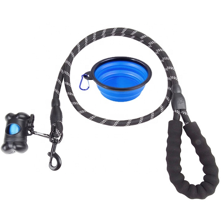 Wholesale 3 in <strong>1</strong> Climbing Rope Dog Leash DIY Reflective Rope Dog Leash with Waste Bag Dispenser, Pet Bowl